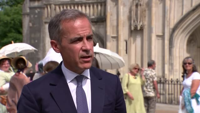 Fall in inflation driven by cheaper petrol and diesel costs Hampshire Winchester Winchester Cathedral EXT Mark Carney interview SOT/ EXT Various of...