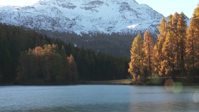 Fall, mountain lake, timelapse of sun illuminating the scenery