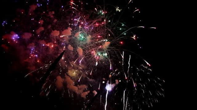 fallas festilval fireworks show 2013 - gunpowder explosive material stock videos & royalty-free footage