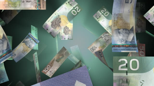 falling canadian money (loop) - currency stock videos & royalty-free footage