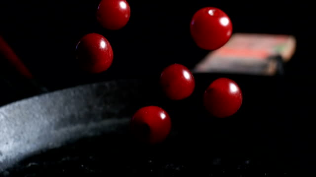 falling cherries. super slow motion - maroon stock videos and b-roll footage
