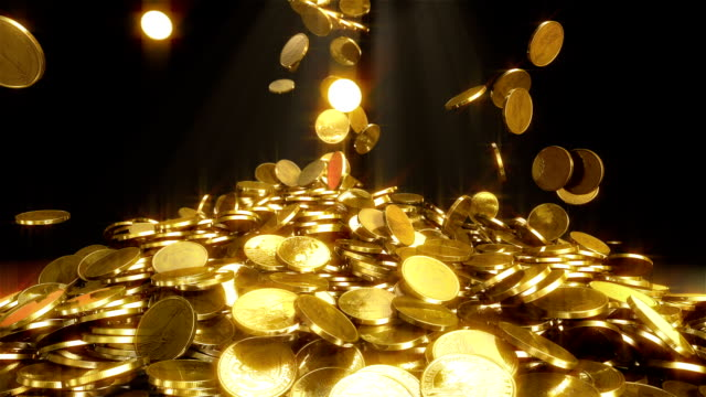 hd: falling coins - gold colored stock videos & royalty-free footage
