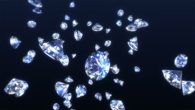 falling diamonds 4k - close-up - stone object stock videos & royalty-free footage