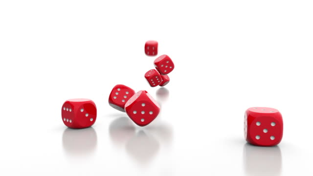Falling dice on white background