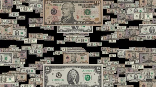 falling dollar currency alpha channel - banconota da 10 dollari statunitensi video stock e b–roll