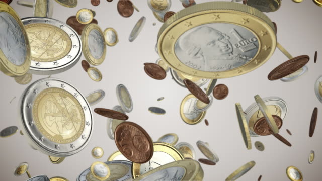 falling euro coins loop - european union coin stock videos & royalty-free footage