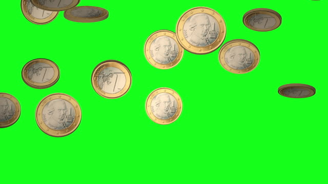 falling euro coins on chroma green bg - euro symbol stock videos and b-roll footage