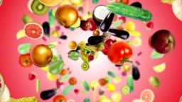 Falling FRUITS and VEGETABLES Ring Background, Loop, with Alpha Channel