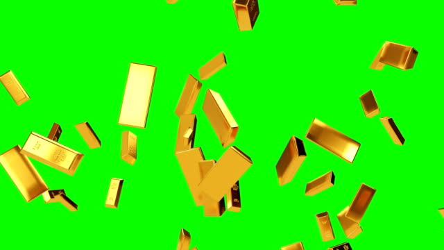 falling gold bars green screen - coin stock videos & royalty-free footage