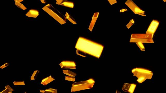falling gold bars luma matte loop - stone object stock videos & royalty-free footage
