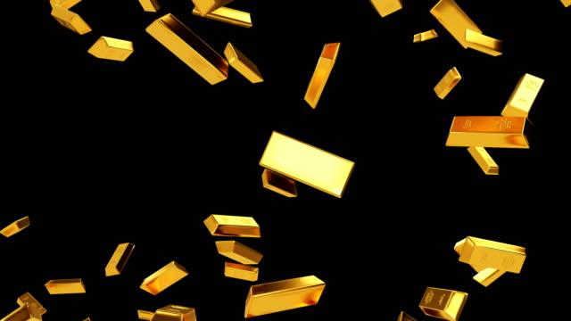 falling gold bars luma matte loop - ingot stock videos & royalty-free footage
