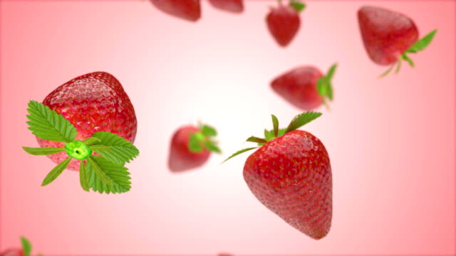 Falling Strawberries background pink