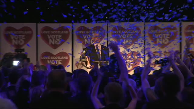 falling ticker tape over alistair darling during 'vote no' victory celebrations - alistair darling stock videos & royalty-free footage