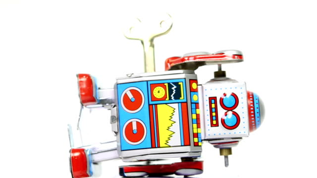 falling tin toy robots with key - broken stock videos & royalty-free footage
