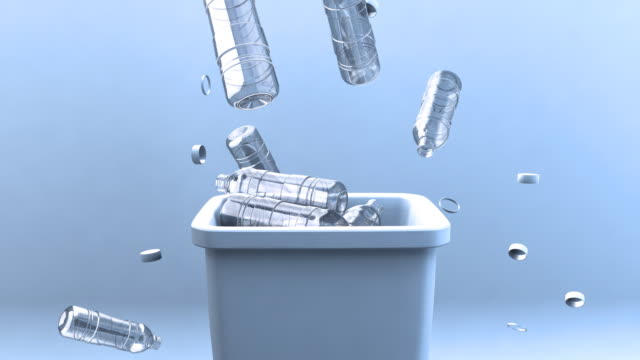 falling water bottles and recycling bin - water bottle stock videos & royalty-free footage