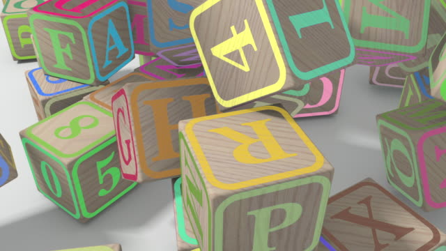 Falling wooden kindergarten cubes