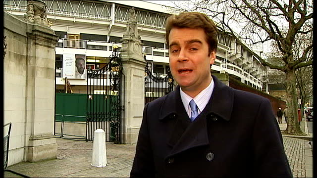 fallout from sir allen stanford investment fraud scandal lord's cricket ground reporter to camera - channel 4 news stock videos & royalty-free footage