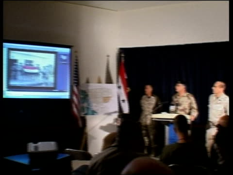 us forces control 70% of city iraqi soldiers captured pool interim prime minister ayad allawi talking to troops cms side iraqi soldiers chanting cms... - al fallujah stock videos and b-roll footage