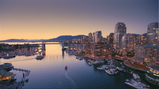 ws ha false creek at dusk, vancouver, british colombia, canada - real time stock videos & royalty-free footage
