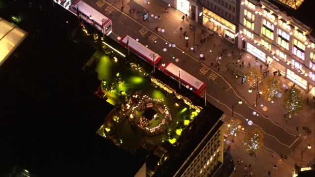 False 'shooting' incident at Oxford Circus Aerials at night AIR VIEWS / AERIALS People milling about at Oxford Circus after the allclear given and...