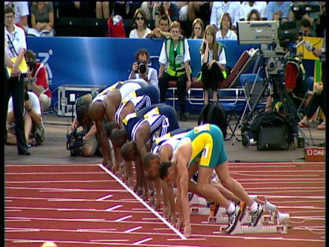 false start, men's 100m heat, 2004 crystal palace athletics grand prix, london - track and field event stock videos & royalty-free footage