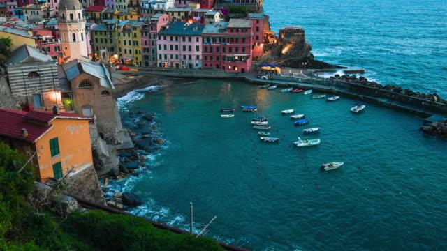 famaus travel manarola at twilight cinque terre  italy (cinque terre- unesco world heritage site) - mediterranean sea stock videos & royalty-free footage