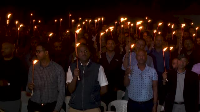 families and friends gather at the ethiopian airline pilots association in memory of the crew who died in the flight 302 crash one year ago - crash stock videos & royalty-free footage