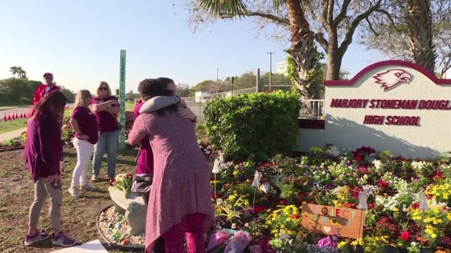 families and friends gather outside marjory stoneman douglas high school to remember the victims of the florida school shooting that took the lives... - memorial event stock videos & royalty-free footage