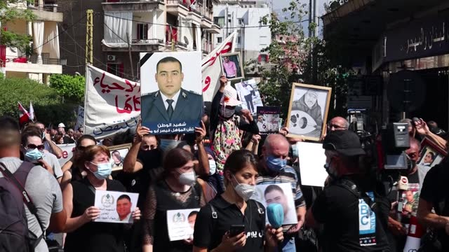 families and friends of the victims of the beirut port explosion march toward the port before an anniversary commemoration on august 4, 2021 in... - anniversary stock videos & royalty-free footage