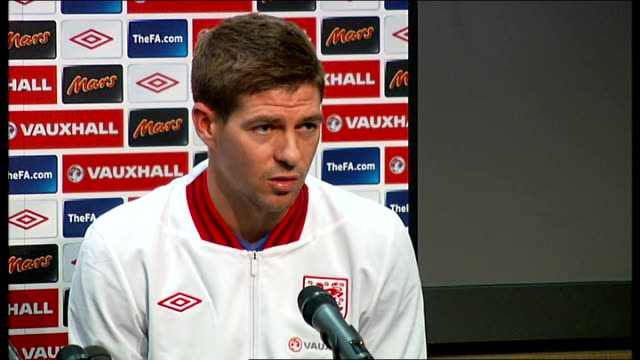 Families of some England footballers may not travel to Ukraine for fear of racist attacks NORWAY Oslo INT Steven Gerrard press conference SOT its...