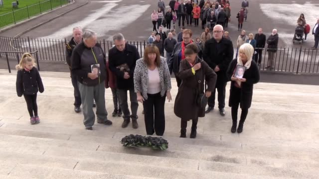 families of those killed and secretly buried by republicans gathered at stormont earlier for the annual all souls silent walk pa spoke to oliver... - buried stock videos & royalty-free footage
