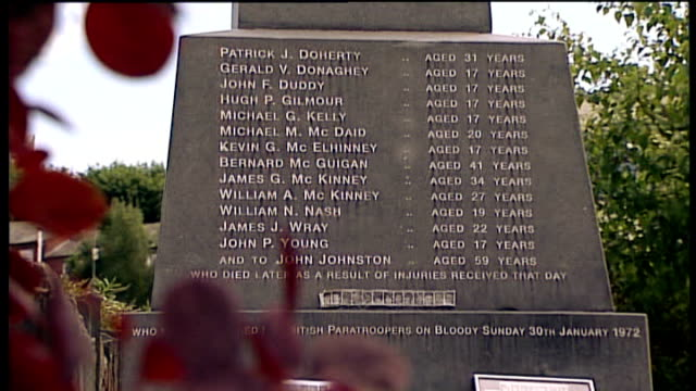 families of those killed or injured on 'bloody sunday' react to offer of compensation northern ireland londonderry ext names of those killed on... - 彫刻画点の映像素材/bロール