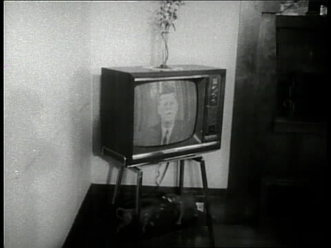 Families watch the televised debate between Senator John F Kennedy and Senator Richard Nixon in 1960