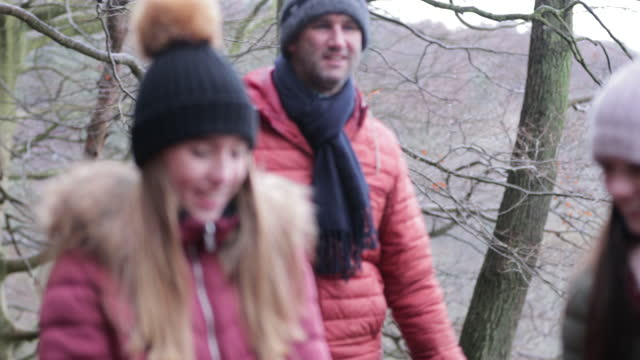 family adventures in the woods - family with three children stock videos & royalty-free footage
