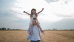 family amusements in field, happy young dad with little kid girl in straw hat on his shoulders which spreads her hands to sides runs and laughs in harvest seasonal grain wheat meadow