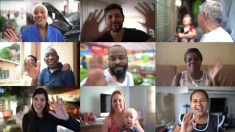 familie und freunde glückliche momente in videokonferenz zu hause - live ereignis stock-videos und b-roll-filmmaterial