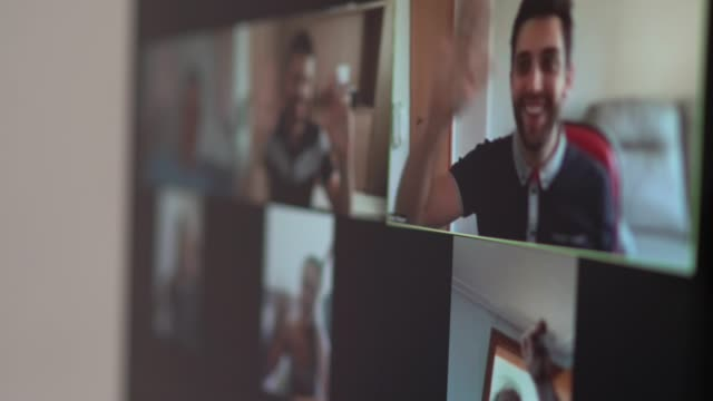 family and friends happy moments in video conference at home - waving gesture stock videos & royalty-free footage