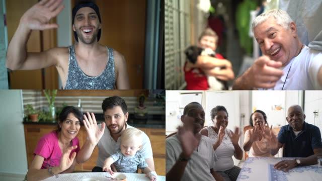 stockvideo's en b-roll-footage met familie en vrienden gelukkige momenten in videoconferentie - looking at camera
