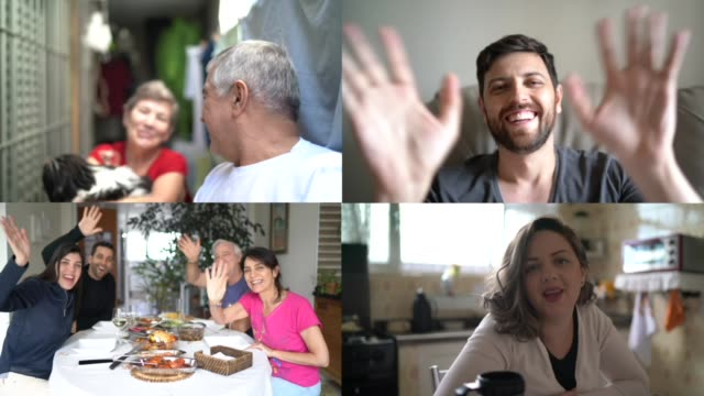 family and friends happy moments in video conference - waving gesture stock videos & royalty-free footage