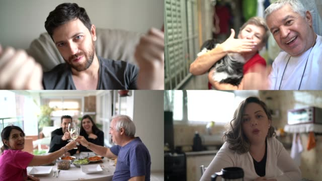 vídeos de stock e filmes b-roll de family and friends happy moments in video conference - distante