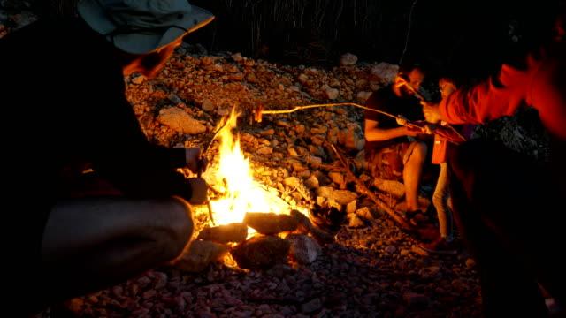 vídeos de stock e filmes b-roll de family and friends having bonfire on a beach - fogueira de acampamento