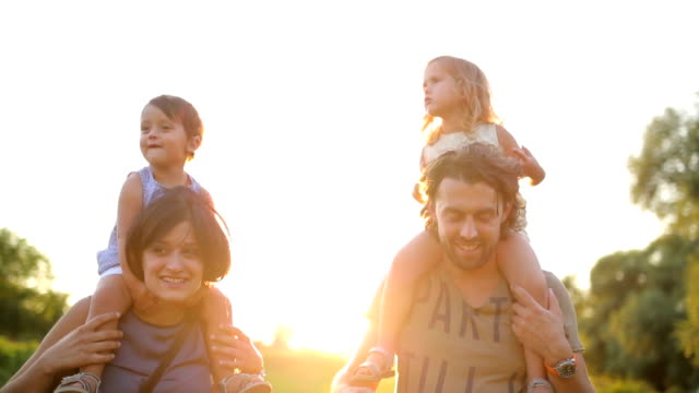 family and sun - family with two children stock videos & royalty-free footage