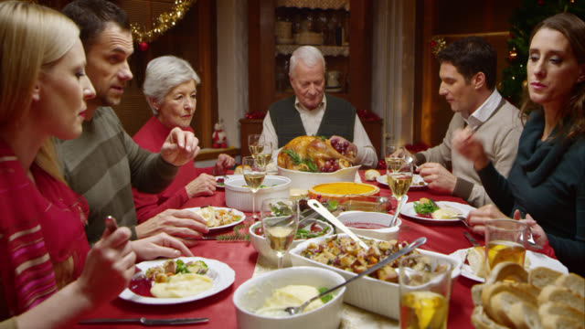 Family at Christmas dinner eating and talking