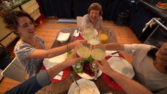 vídeos de stock e filmes b-roll de family at dinner / lunch time - brinde
