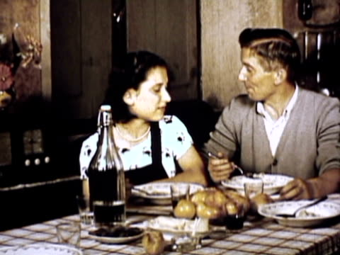 ms cu zi family at dinner tune radio / naples, italy - 1950 stock videos & royalty-free footage