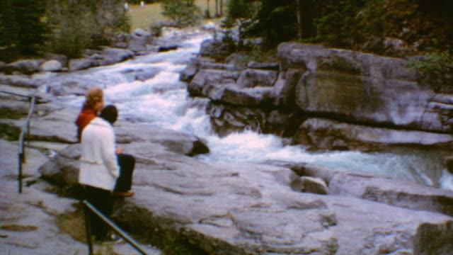 family at maligne canyon - maligne river stock videos & royalty-free footage