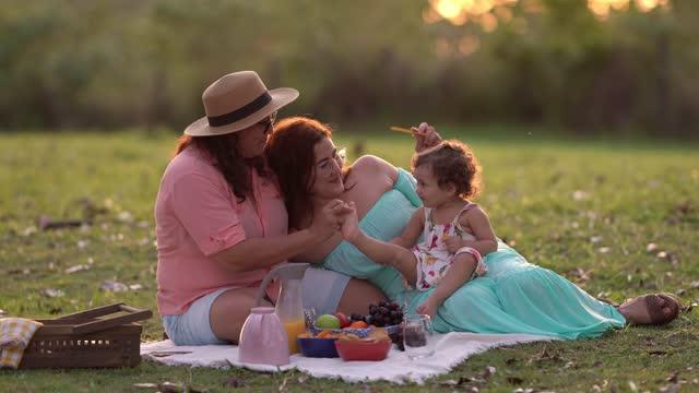 vídeos de stock e filmes b-roll de family at picnic at sunset - sentar se