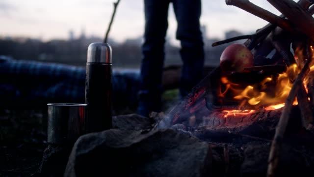 たき火でリンゴを焼く家族。冬の楽しみ。リバーサイド市 - アウトドア点の映像素材/bロール