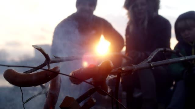 familj bakning korv i brasan. vinternöje. riverside i staden - lägereld bildbanksvideor och videomaterial från bakom kulisserna