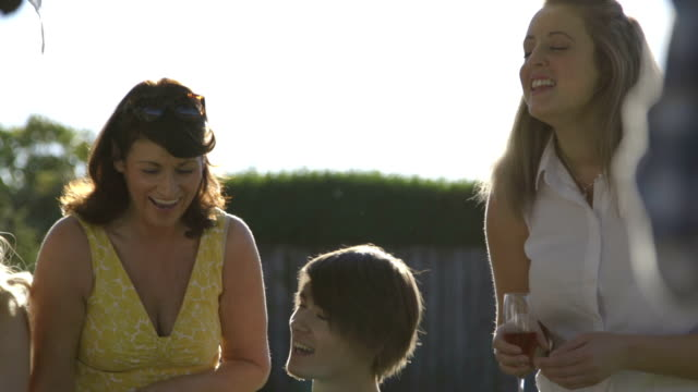 family bbq garden party - multi generation family stock videos & royalty-free footage